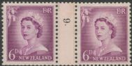 NZ Counter Coil Pair SG 750 1955-59 6d Queen Elizabeth II Join No. 9 (NCC/263)